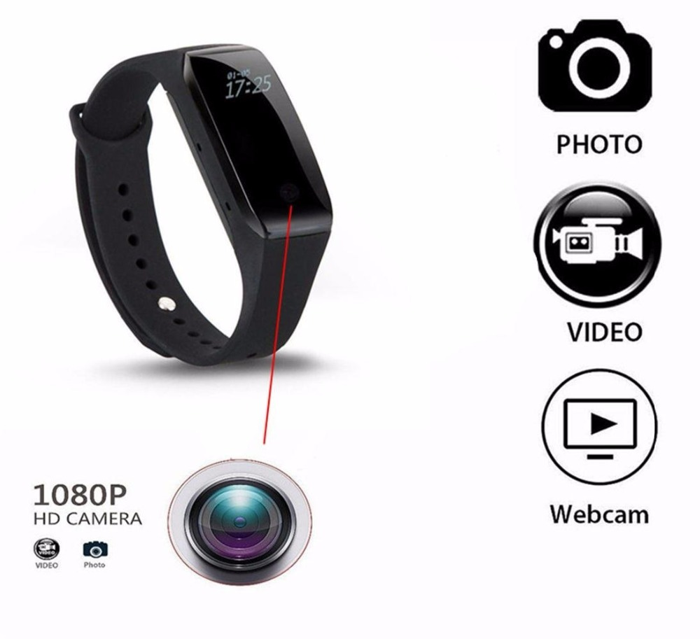 HD 1080P Bracelet Camera Mini Camera Wristband 14.2 Million Pixels Lens Camera Wearable Device Micro Cam Pk Sq8 Sq9 Sq11 T189