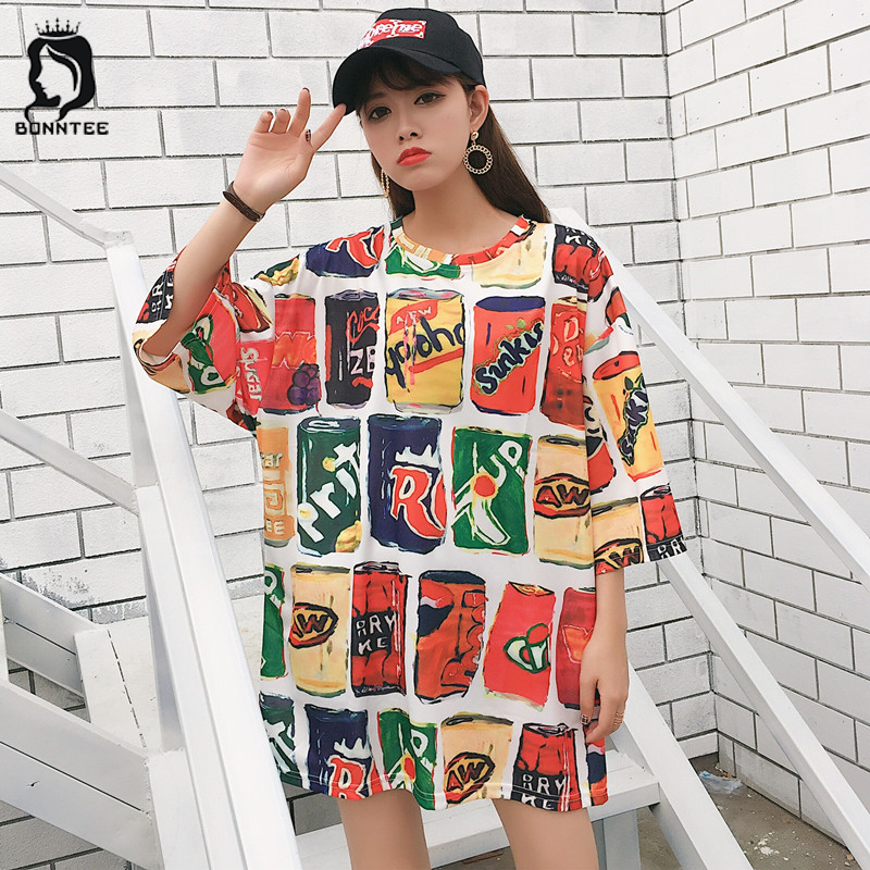 Loose Korean BF Style 5 Quarter Sleeve T-shirt Womens Cartoon Printed Summer Casual Trendy T-shirts Women Breathable School Girl