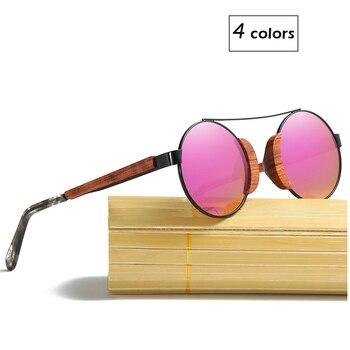2019 חדש עיצוב עץ מתכת עגול משקפי שמש מקוטב עדשה עבור גברים ונשים משלוח חינם