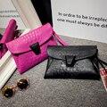 2017 fashion Crocodile pattern small bag envelope bag women clutch  handbag shoulder female messenger bag bright color with lock