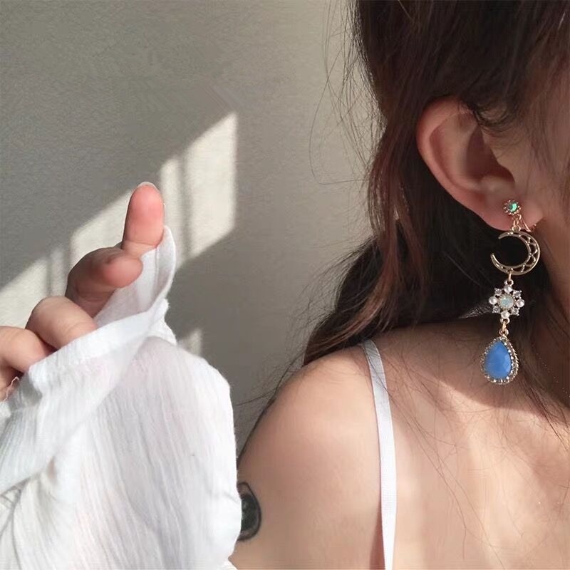 Lolita Asymmetry Rhinestone Moon Drop 2