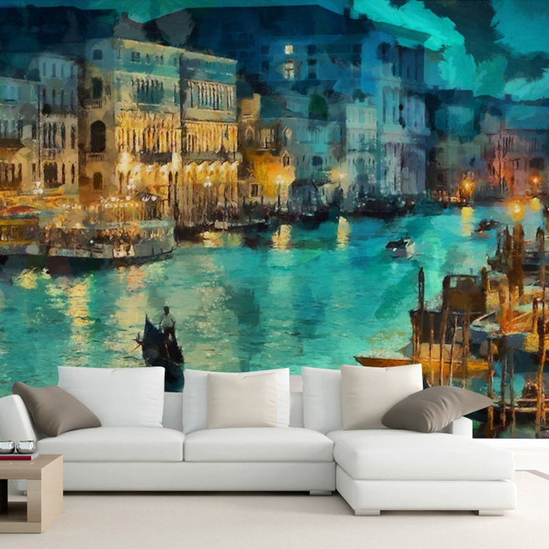 Continental Venice watercolor painting 3D wallpaper bedroom living room TV background 3D wallpaper customized large mural