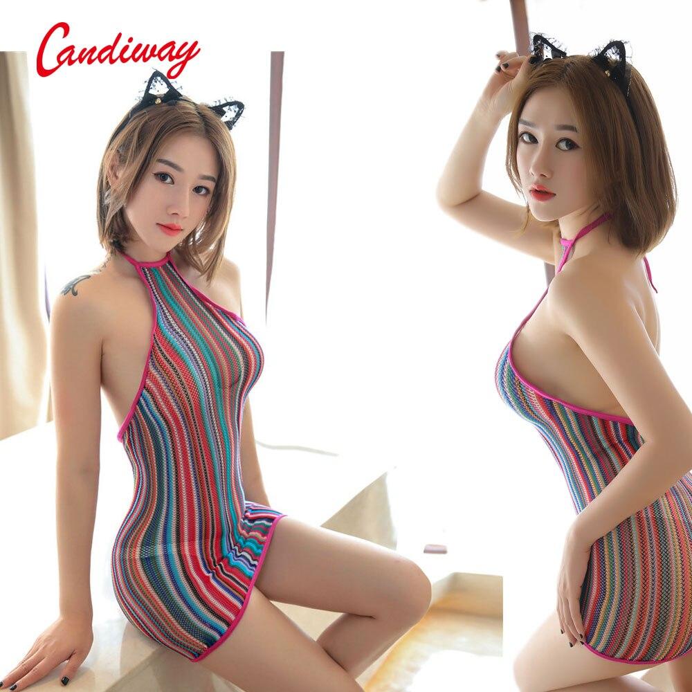 Mini Dress Transparent Hollow Out Fishnet Erotic Rainbow Dress Lace Plunge ChemiseColorful Stripe Halter Backless