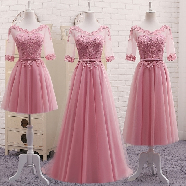 Vestidos New Dusty Pink Bridesmaid Dress Half Sleeved Lace Embroidery Long Elegant Bride Wedding Prom Party