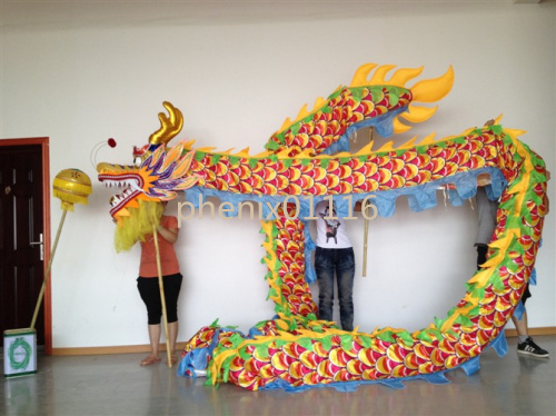 Kinijos DRAGON ŠOKIO ORIGINALAS Drakono kinų folkloro festivalio šventinis kostiumas - 10 m ilgio, 3 dydžio, margintas audinys.