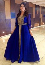 fashion royal blue evening dresses 2017 o neck 3/4 sleeve beaded chiffon hijab women pageant dress formal prom party gown
