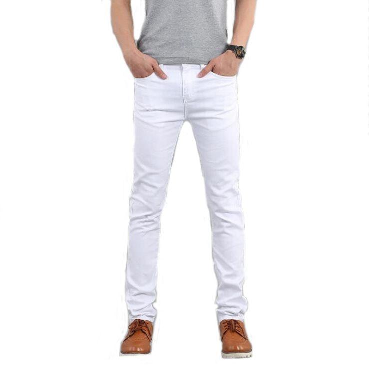 #1503 2017 Spring Autumn White/Black jeans men Skinny Fashion Slim fit jeans Elastic Strech Designer jeans men High quality
