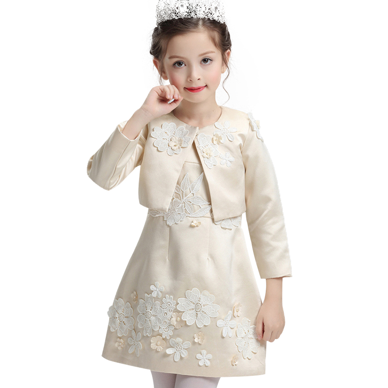 2017 Pearl flower Princess Girls Dress For Wedding Flower Girl Dresses With Jacket Baby Children Clothes Ceremonies Dress gril flower dress multi storey white clothes stage girl performance children show clothes for dance with a pair of glove