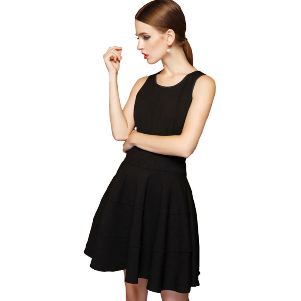 Simple Cheap Black O Neck Short Mini Prom font b Dresses b font Sleeveless with Puffy