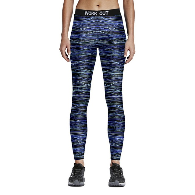 Women's Sporting Leggings Fitness Workout Skinny Trousers New Autumn 3D Silk Print Pants Elastic Slim Leggings