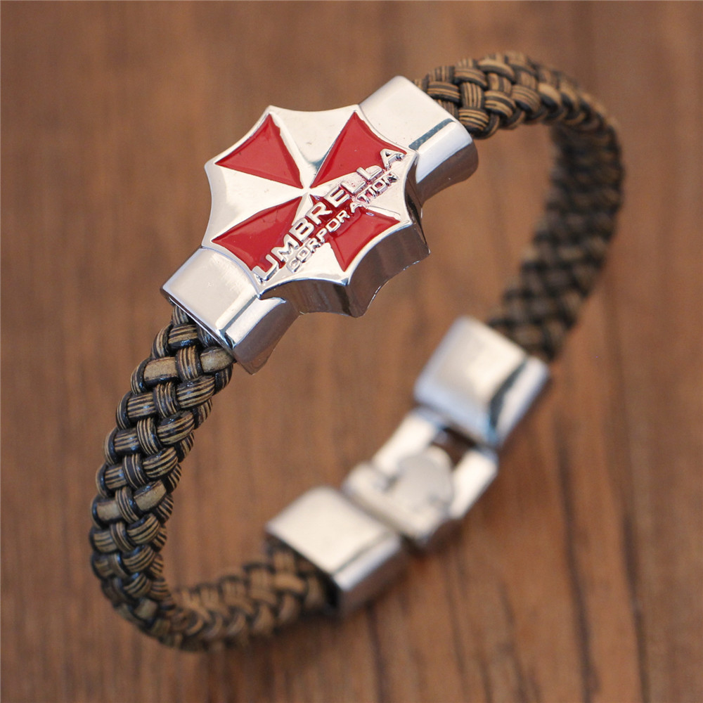 Movie Resident Evil Red Umbrella Logo High Quality Bracelet Leather Woven Punk Bangle cosplay jewelry For Men Women