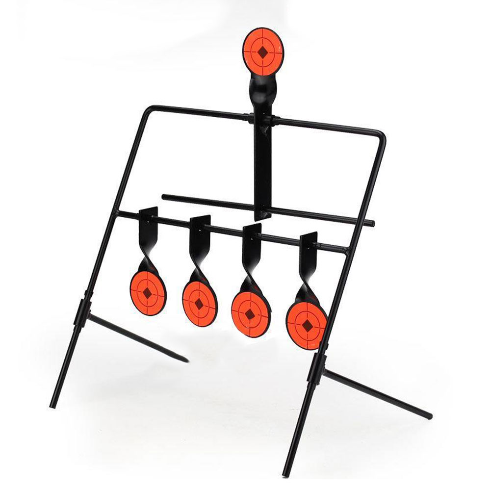 5-Plate Metal Reset Shooting Target Indoor Outdoor Rifle Supplies Black