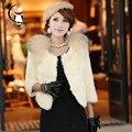 2016 Rabbit Fur Jacket Women Winter Fur Coats With Raccoon Dog Fur Collar Russian Fur Coats Warm Autumn And Winter Overcoat Pink