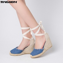 TINGHON  Women Tassel Denim Wedge Sandals Ankle Strap Fisherman Shoes Super High Heels Espadrilles Linen Flax Sapato Feminino