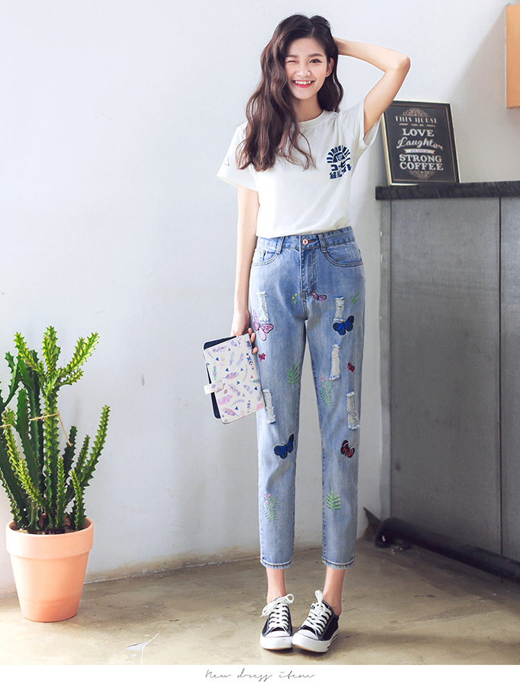 Summer New Loose Casual Full Jeans Fashion Pattern Hole Ripped Women Big Yards Denim Pants Quality Cotton Harem Pants Trousers new summer vintage women ripped hole jeans high waist floral embroidery loose fashion ankle length women denim jeans harem pants