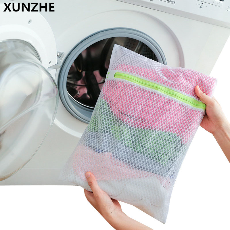 XUNZHE 1PC Thickened Mesh Zipper Laundry Bags Women Bra Socks Shirt Underpants Lingerie Washing Pouch Clothes Protector Case