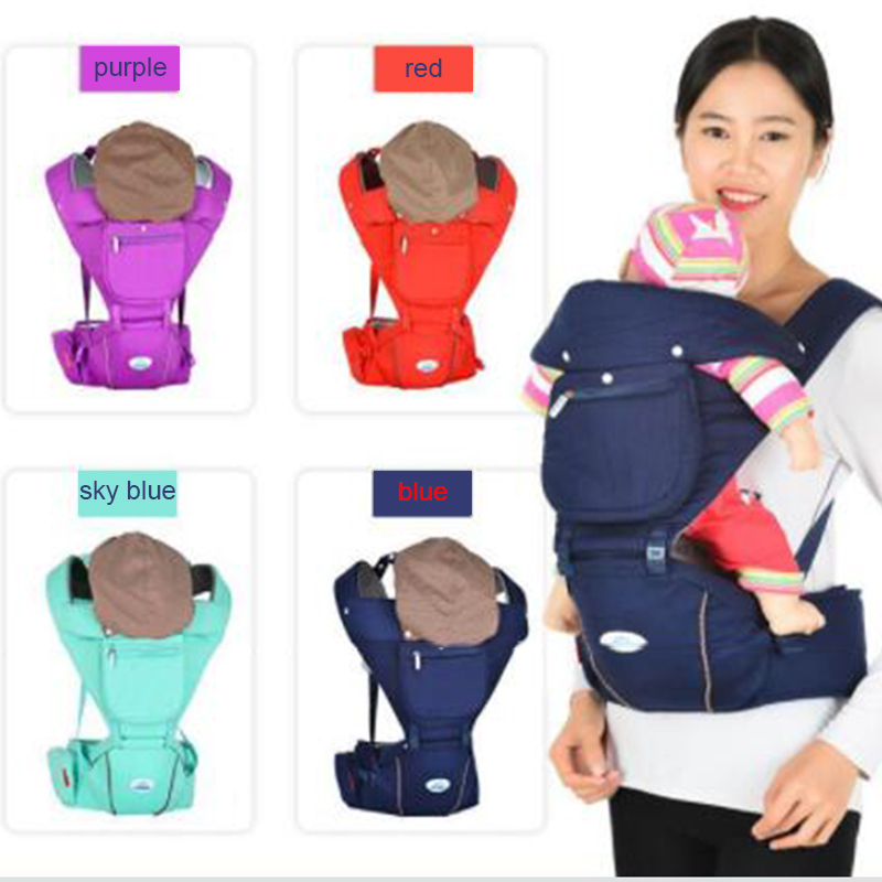 baby carrier hip seat sling backpacks infant kids multi-function kangaroo suspenders four season waist stool with windproof hat multi function portable comfortable cotton baby carrier sling bag deep blue white