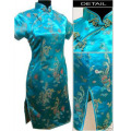 Hot Sale Blue Women's Silk Cheongsam Chinese Vintage Qipao Formal Evening Dress Oversized S M L XL XXL XXXL 4XL 5XL 6XL S026-E
