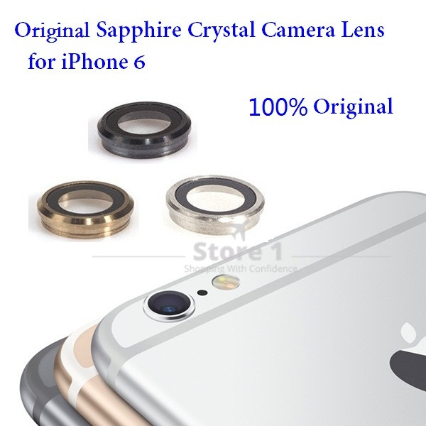 100% original for Apple iPhone 6 kameralinser; Sapphire Crystal Back Camera-glasslinser med ramme for iPhone 6 4,7 tommer