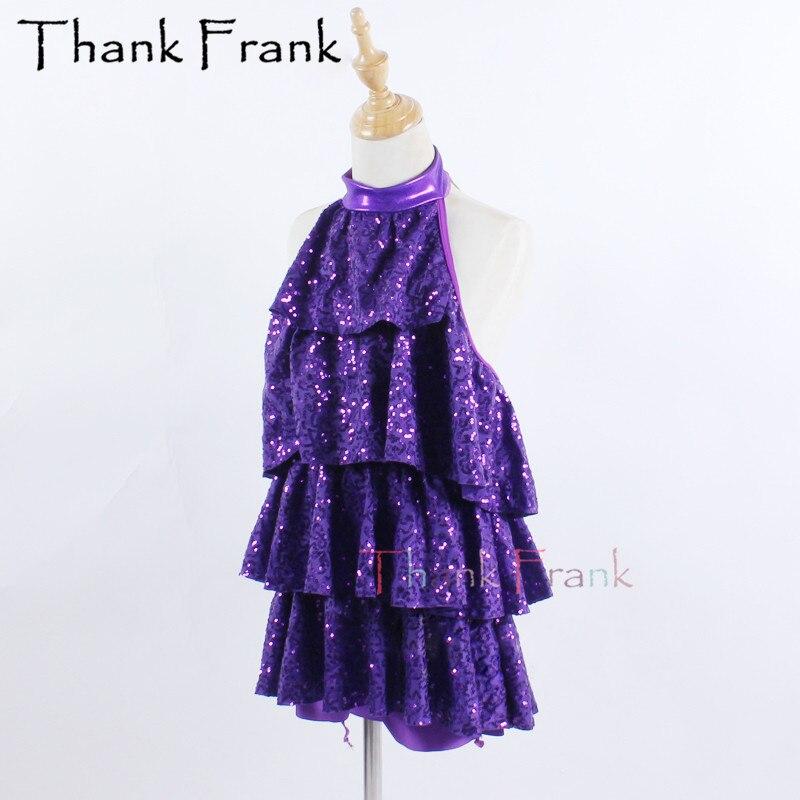 Фиолетовое балетное платье для девочек; детские танцевальные костюмы без рукавов с блестками для взрослых; Профессиональный костюм для бал