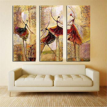 Asian 3 pieces Canvas No frame. Modern Abstract Huge Art Oil Painting On Canvas Home Decor Decorative Wall Dancer Pictures