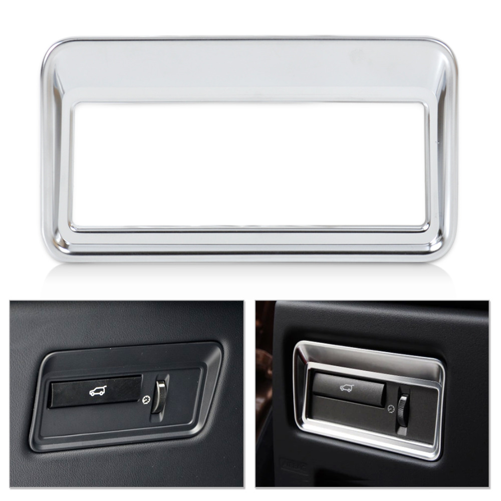 beler Chrome Car Interior Rear Trunk Switch Button Panel Cover Trim Frame For <font><b>Land</b></font> <font><b>Rover</b></font> <font><b>L405</b></font> Range <font><b>Rover</b></font> Sport L494 2013-2016 image