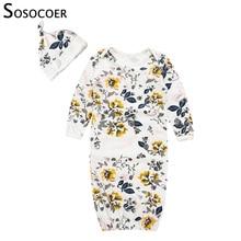 SOSOCOER/Детские пижамы; одежда для сна для младенцев; платье для новорожденной с цветочным рисунком; Bebe; костюм для сна; комбинезон для девочек; Пижама; шапка; спальный мешок