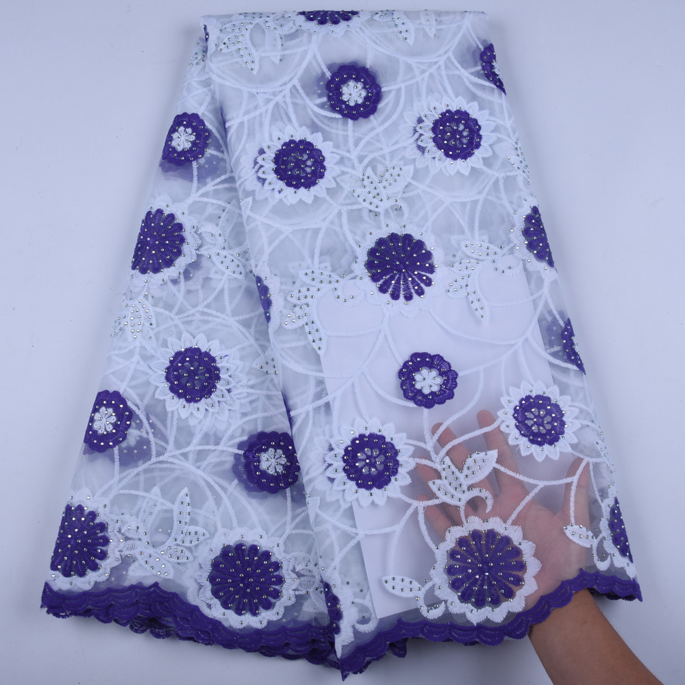 White and Purple African Lace Fabrics 2019 High Quality Lace Nigerian Tulle Lace Fabric Bride Milk