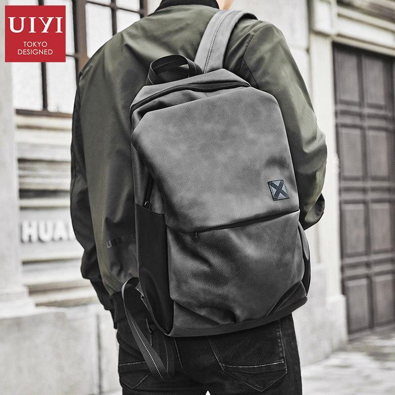 14 インチのバックパック男性のバックパックのファッショントレンドバッグ大学生 pvc レザー韓国カジュアルバックパックコンピュータバッグ  グループ上の スーツケース & バッグ からの バックパック の中 2