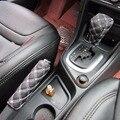 1Set/2pcs DIY Universal Grid Microfiber Auto Car Decoration Gear Set Hand Brake Case Holder Protectors Red White