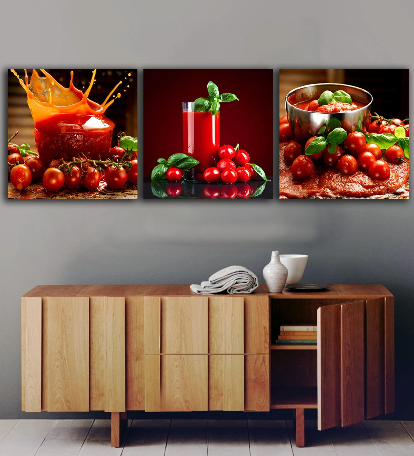 3 panels tomatoes juice paintings for the kitchen fruit - Kitchen canvas wall decor ...