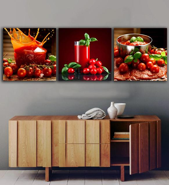 3 Panels Tomatoes Juice Paintings For The Kitchen Fruit Wall Decor Modern  Canvas Art Wall Pictures