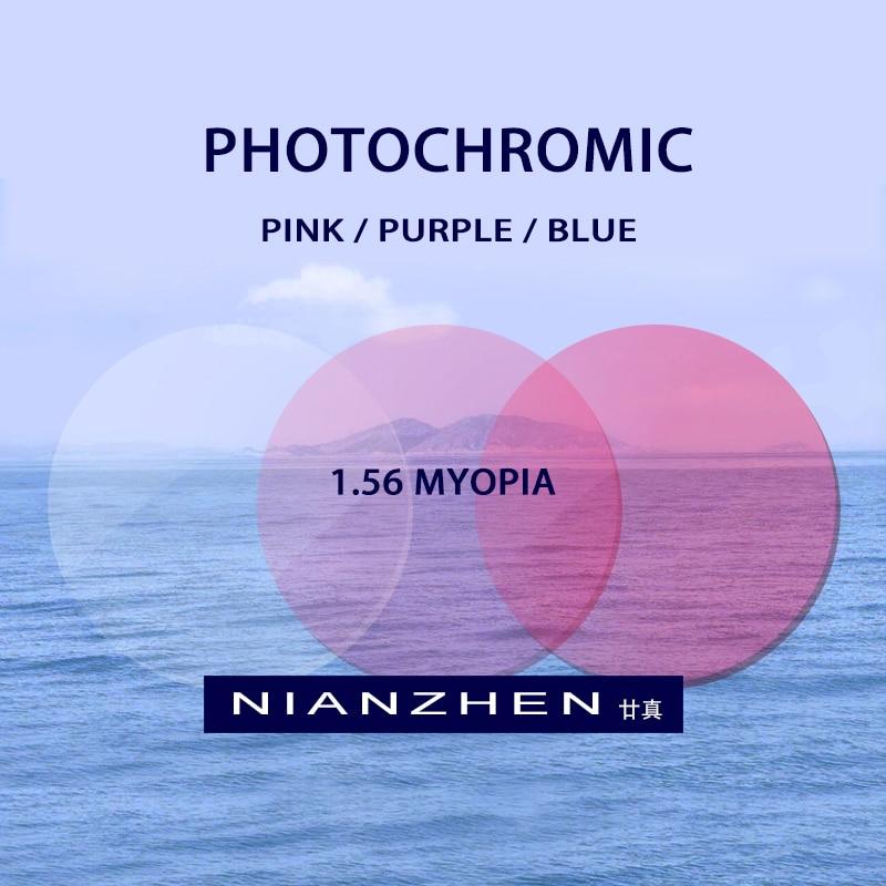 1.56 (-0.50-4.00) photochromique rose Pureple bleu Prescription CR-39 résine asphérique lunettes lentilles myopie lunettes de soleil lentille