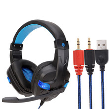 Stereo Bass USB LED 3.5mm Wired Gaming Headset Headphones with Mic for PC Laptop Mobile Phone best price good quality S30(China)