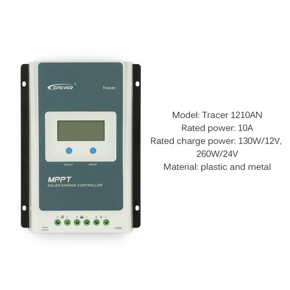 Tracer 1210AN Solar Charge Controller 10A 12V 24V LCD Display Solar Panel Charge Controller Battery Regulator