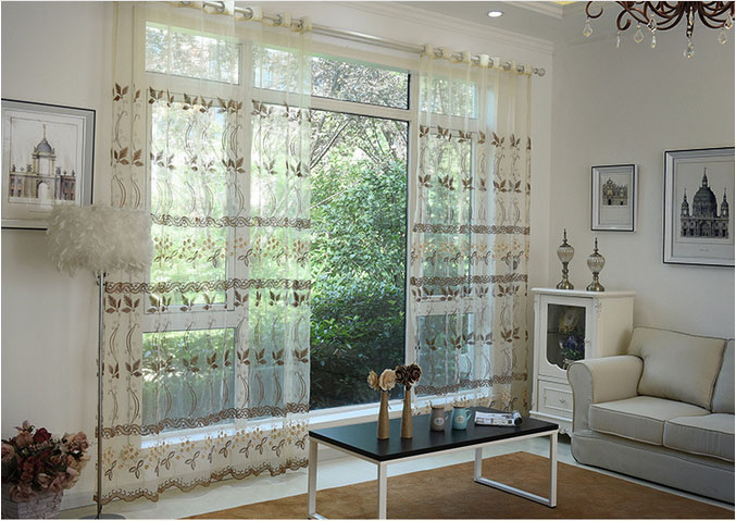 European Embroidered Voile Curtains Bedroom Sheer Curtains