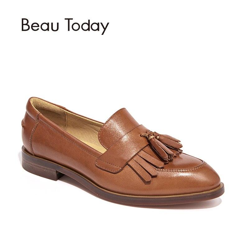 BeauToday/Лоферы женская обувь наивысшего качества из натуральной телячьей кожи с бахромой Повседневная на плоской подошвебрендовая женская о...