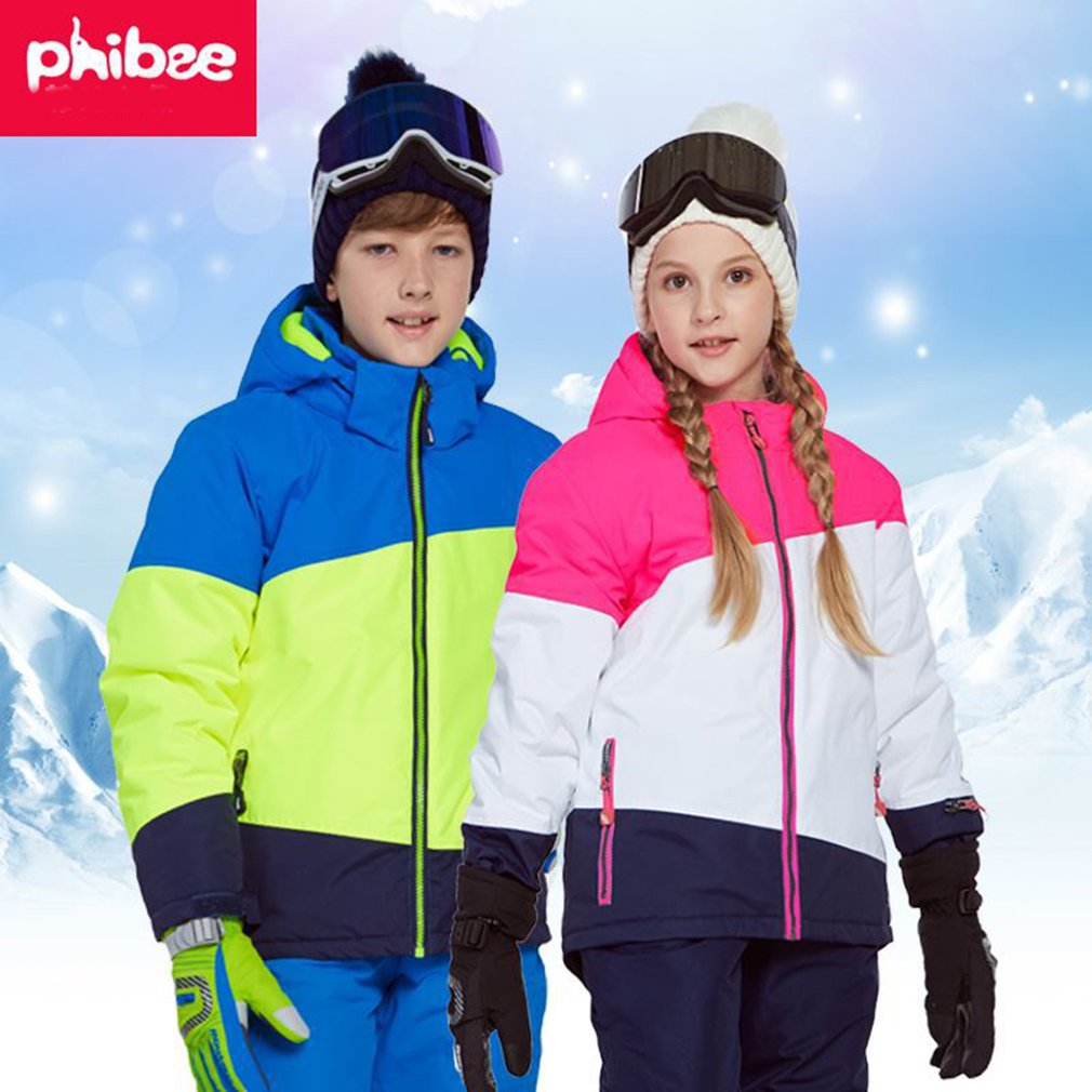 Phibee Boys/Girls Ski Suit Waterproof Pants+Jacket Set Winter Sports Thickened Clothes Children's Ski Suits3