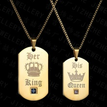 Her King and His Queen Necklaces & Pendants Titanium Couple Gold Color Necklace Stainless Steel Suspension Gifts