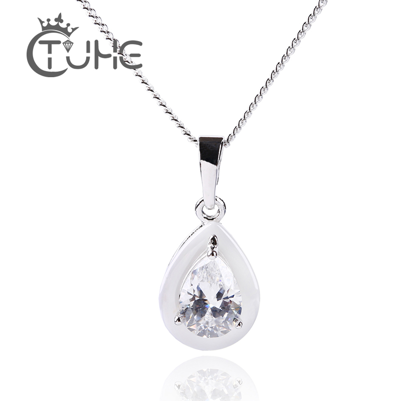 2019 Trendy Women Necklace Silver Color Water Drop Pendants Jewelry with Chain G