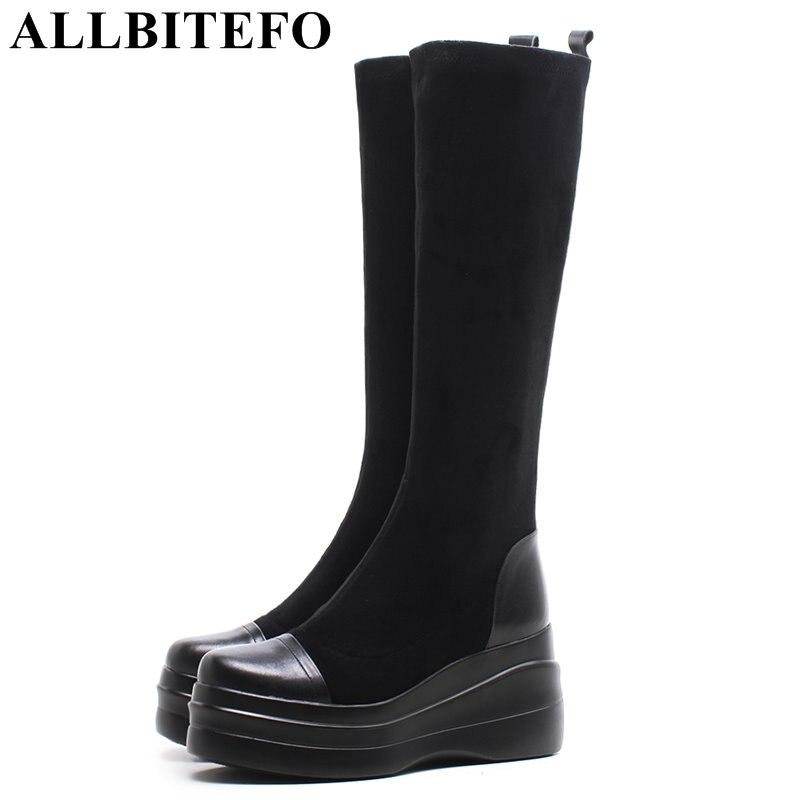 ALLBITEFO genuine leather Stretch flock wedges heel platform women boots high heels Autumn women high boots