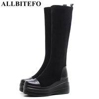 ALLBITEFO genuine leather+Stretch flock wedges heel platform women boots high heels Autumn women high boots thigh high boots