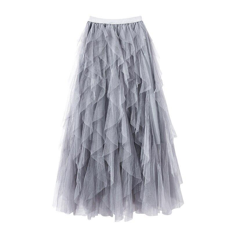 Ruches Noir 2019 Bohème Tutu Noir Gris De Nouveau D'été Robe rose Bal Longue Filles Printemps gris Femmes Gothique Tulle Jupe Rose Jupes Maille Mignon Rp5qw6