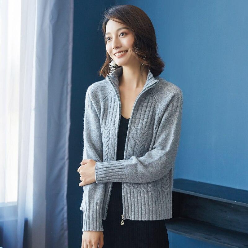 Women s Short Cardigan Sweater Autumn New Arrival 100 Cashmere Cardigan Female Turn down Collar Long