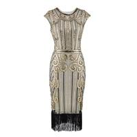 Plus Size S 3XL Vintage Great Gatsby Flapper Dresses Women 1920S Sexy Sleeveless Sequin Beads Tassel Party Dress Art Deco Double