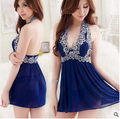 High Quality Blue Embroidery Sexy Nightwear Backless Summer Style Sexy Sleepwear for Women