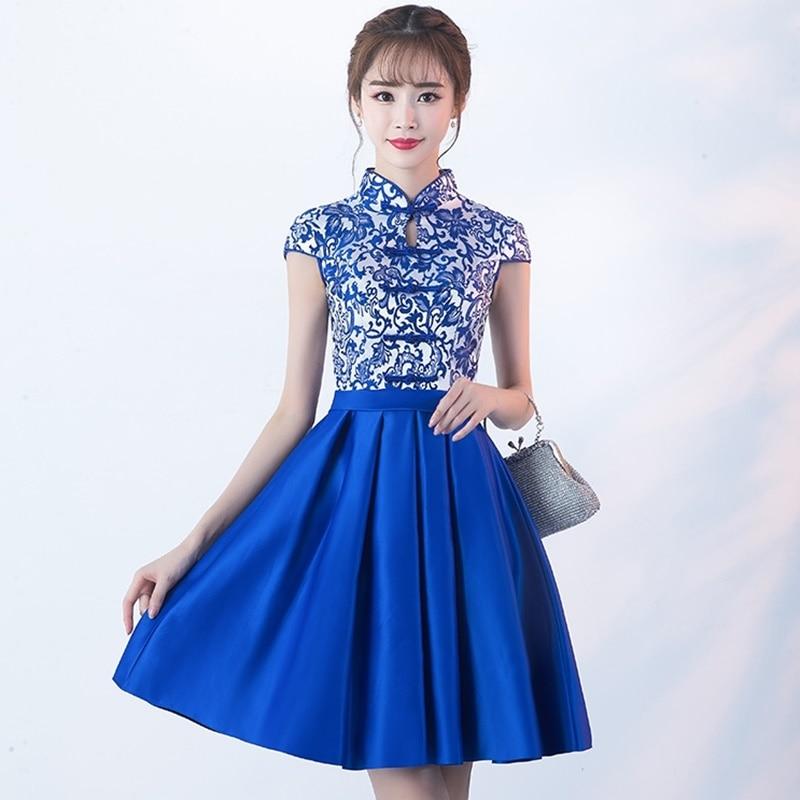 Royal Blue Modern Chinese Dress Female Mandarin Collar Petite Vestido Qipao Ladies Cheongsam Style Chinese Clothing Stor F1628 L