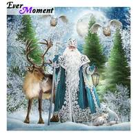 Ever Moment Diamond Painting Full Square Drill Christmas Tree Santa Claus ELK Winter Home Decoration Mosaic Rhinestone S2F196