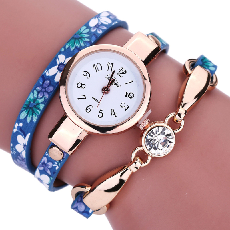 Excellent Quality DUOYA Vintage Leather Bracelet Watches Women Diamond Watches Casual Quartz Watch Relogio Feminino
