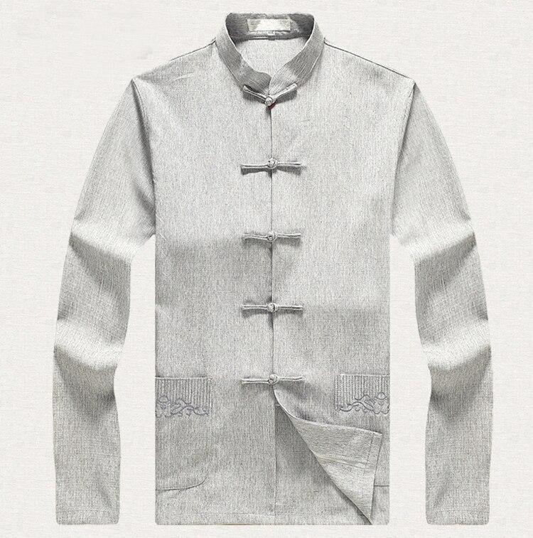 Grande taille 3XL 4XL 5XL 6XL hommes chemise en coton à manches longues chemise col Mandarin Style chinois Kung Fu vêtements 2505